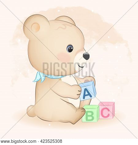 Cute Little Bear And Abc Toy Block Hand Drawn Illustration