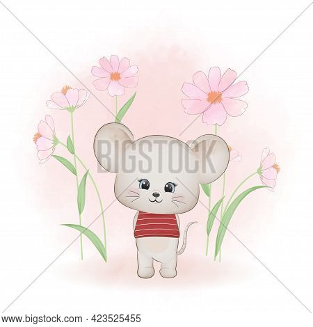 Cute Little Mouse And And Cosmos Flower, Cartoon Animal Watercolor Illustration