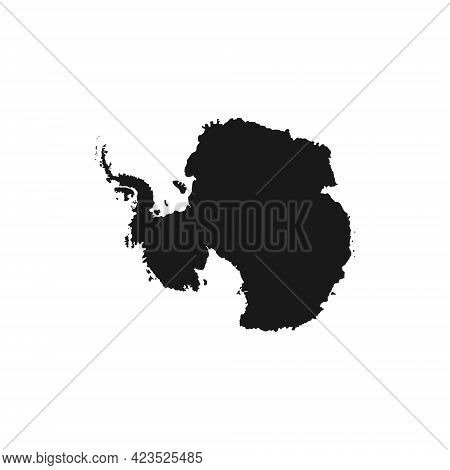 Realistic Vector Icon Of Antarctica. The Silhouette Of The Continent In Black