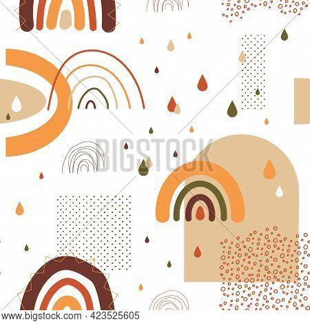 Rainbow Pattern. Seamless Childish Texture With Hand Drawn Pastel Arcs. Abstract Minimal Decorative