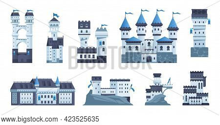 Castle. Cartoon Medieval Palace Or Fort With Towers And Flags. Ancient Stone Architecture. Isolated