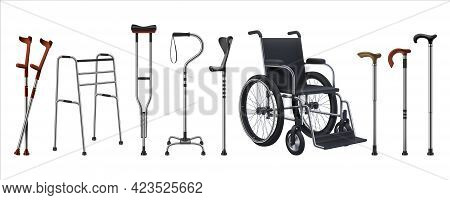 Realistic Wheelchairs And Canes. 3d Medical Supplies For Musculoskeletal Injury Patients. Walking St