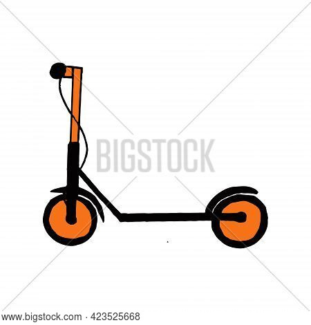 Electric Scooter Icon. Hand Drawn Doodle. Vector, Minimalism Transport