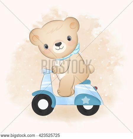 Cute Bear Riding A Motorcycle Hand Drawn Illustration