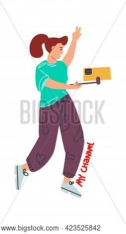 Blogging. Cartoon Woman Making Social Media Network Content. Doodle Girl Dancing And Recording Video