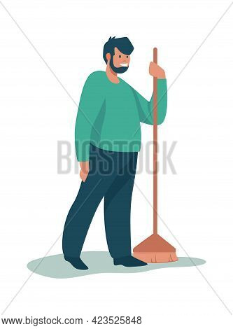 Man Cleaning Garbage. Cartoon Male Standing With Broom. Happy Volunteer Sweeping Trash. Young Charac