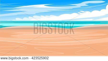 Beach On The Seashore. Surf Line. Sea And Waves, Seascape. Horizon. Flat Style Illustration. Sand Be