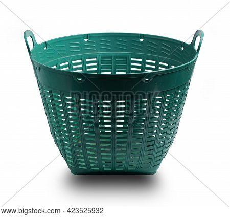 Green Plastic Basket Isolate On White Background