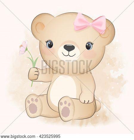 Cute Little Bear And Cosmos Flower, Cartoon Animal Watercolor Illustration