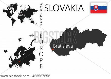 Realistic Vector Map Of Slovakia With Flag. The Location Of The Country On The Map Of The World And