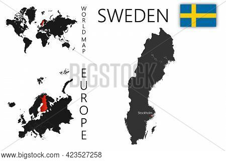 Realistic Vector Map Of Sweden With Flag. The Location Of The Country On The Map Of The World And Eu