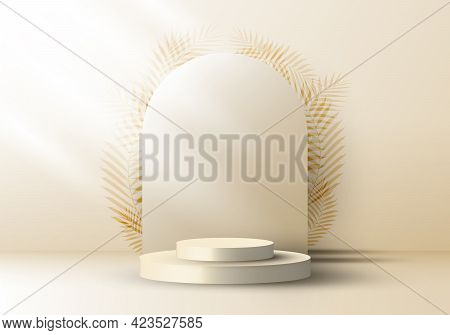 3d Realistic Elegant Brown Cylinder On Layers Rounded Backdrop With Leaves On Beige Background. You