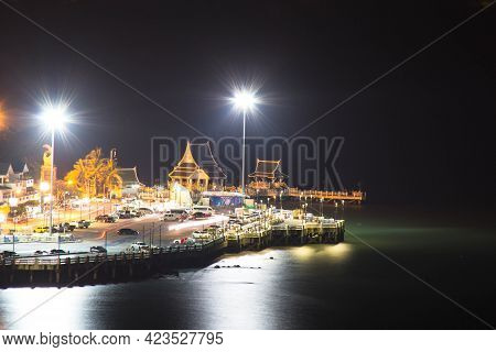 Pavilion By The Sea At Night In Bangsaen, Thailand