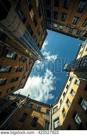 Typical courtyard shapes in Saint Petersburg, Russia.