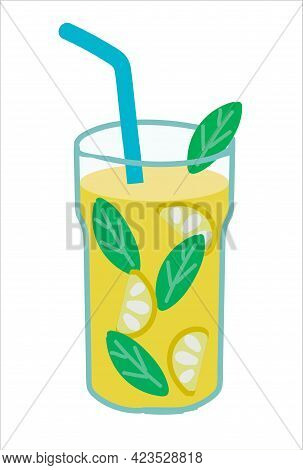Cocktail Drink With Lemon And Mint. On White Background