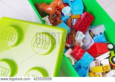 Kharkiv, Ukraine - 10 May 2021: Illustrative Editorial Of Lego Duplo Box For Babies. Lego Is A Danis