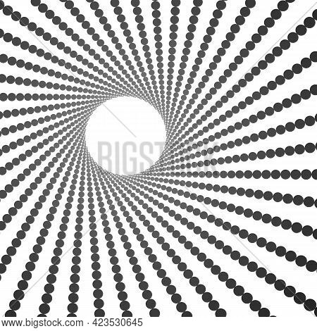 Radiating Dotted Pattern. Radial Twisted Dashed Lines. Round Frame For Logo Design.