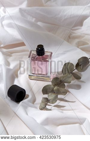 beauty, perfumery and object concept - bottle of perfume and branch of eucalyptus populus on white sheet with folds