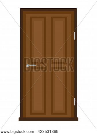 Vector Illustration Of A Modern Wooden Door On A White Background
