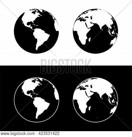 Vector Illustration Of The Planet Earth. Earth Globe Isolated On Black And White Background.