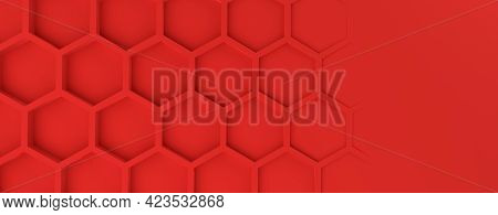 Abstract Modern Red Honeycomb Background, 3d Rendering