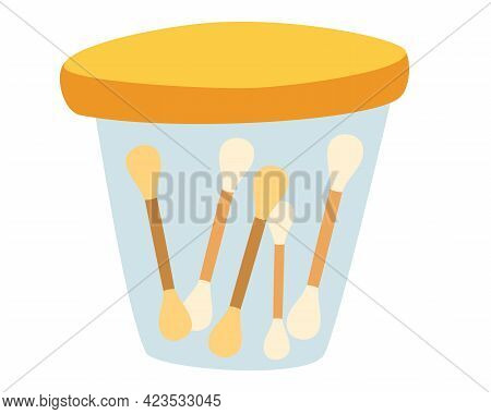 Ear Sticks. Cotton Swabs In Containter. Glass Jar With Ear Sticks. Care And Hygiene. Wooden Ear Stic