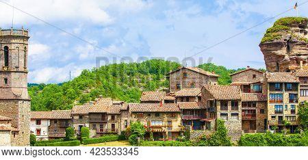 Medieval Catalan Village In The Subregion Of The Collsacabra, Spain