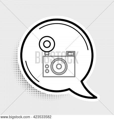 Line Photo Camera Icon Isolated On Grey Background. Foto Camera Icon. Colorful Outline Concept. Vect