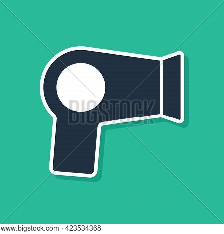 Blue Hair Dryer Icon Isolated On Green Background. Hairdryer Sign. Hair Drying Symbol. Blowing Hot A