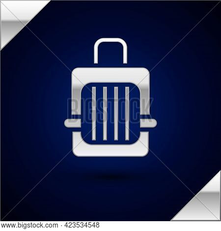 Silver Pet Carry Case Icon Isolated On Dark Blue Background. Carrier For Animals, Dog And Cat. Conta