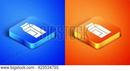 Isometric Paper Package For Milk Icon Isolated On Blue And Orange Background. Milk Packet Sign. Squa