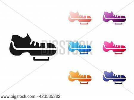 Black Triathlon Cycling Shoes Icon Isolated On White Background. Sport Shoes, Bicycle Shoes. Set Ico