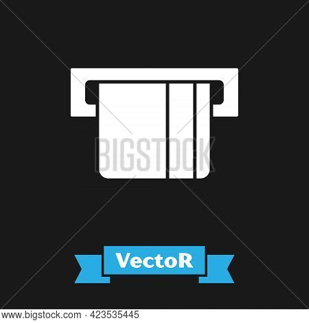 White Credit Card Inserted In Card Reader Icon Isolated On Black Background. Atm Cash Machine. Vecto