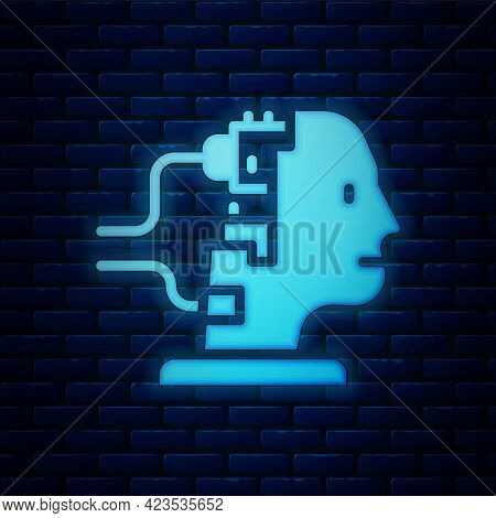 Glowing Neon Robot Connected For Maintenance Icon Isolated On Brick Wall Background. Artificial Inte