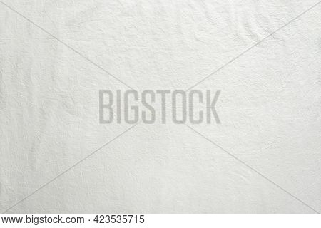 Off White Cotton Textile Background. Flat Lay, Top View, Textured Textile Backdrop. Copy-space, Plac