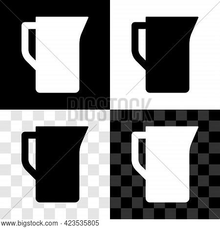 Set Milk Jug Or Pitcher Icon Isolated On Black And White, Transparent Background. Vector