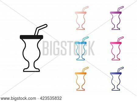 Black Milkshake Icon Isolated On White Background. Plastic Cup With Lid And Straw. Set Icons Colorfu