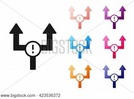 Black Arrow Icon Isolated On White Background. Direction Arrowhead Symbol. Navigation Pointer Sign.