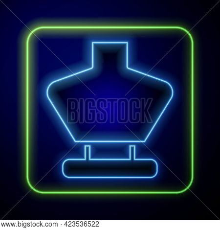 Glowing Neon Necklace On Mannequin Icon Isolated On Blue Background. Jewelry Bust. Dummy For Costume