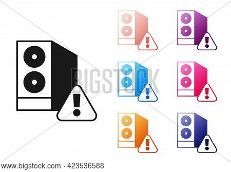 Black Case Of Computer With Exclamation Mark Icon Isolated On White Background. Computer Server. Wor