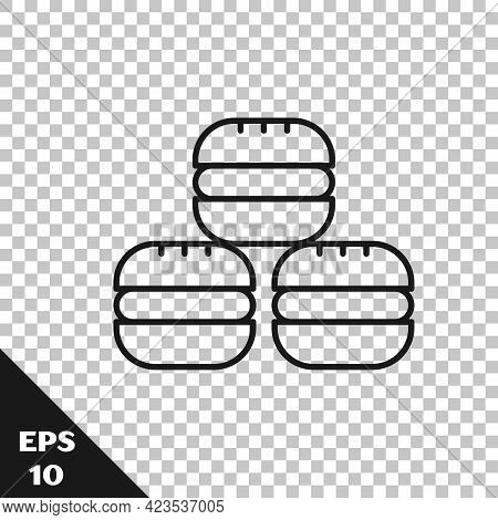 Black Line Macaron Cookie Icon Isolated On Transparent Background. Macaroon Sweet Bakery. Vector
