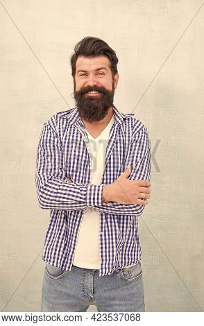 Happy Laughter. Happy Hipster With Smiling Face Blue Background. Bearded Man Smile In Casual Style.