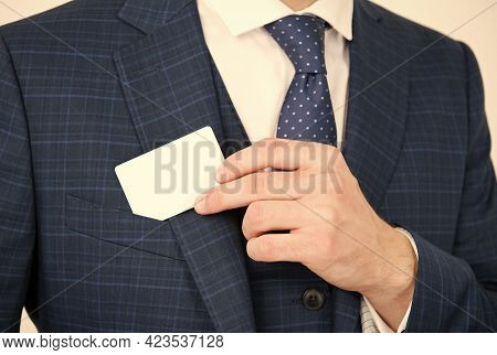 Showing His Visiting Card. Male Hand Take Card Out Of Suit Pocket. Identification Paper. Showpiece.