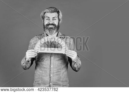 Man Teacher Use Protractor Tool. Bearded Tutor Man With Ruler. Draw And Measure. Back To School. Fav