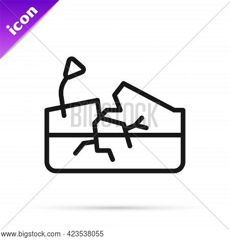 Black Line Earthquake Icon Isolated On White Background. Vector