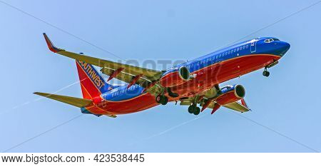 San Diego,ca - May 26,2014:southwest Airlines Takes Off At San Diego. Southwest Is The Largest Domes