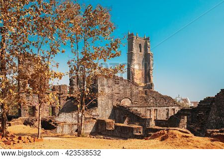 Old Goa, India. Main Altar Of Church Of St. Augustine In Ruined Church Complex. Church Was Completed