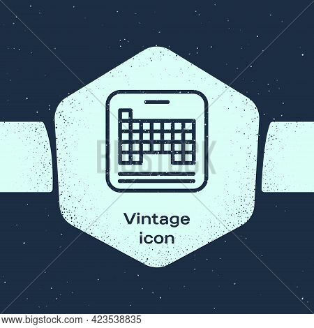 Grunge Line Periodic Table Of The Elements Icon Isolated On Blue Background. Monochrome Vintage Draw