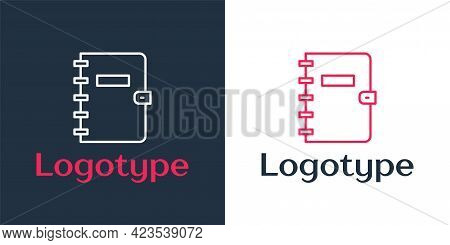 Logotype Line Notebook Icon Isolated On White Background. Spiral Notepad Icon. School Notebook. Writ