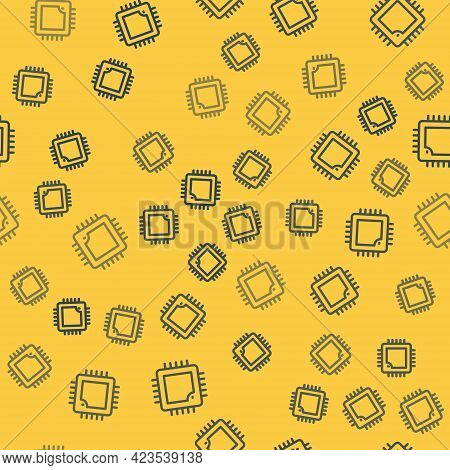 Blue Line Computer Processor With Microcircuits Cpu Icon Isolated Seamless Pattern On Yellow Backgro